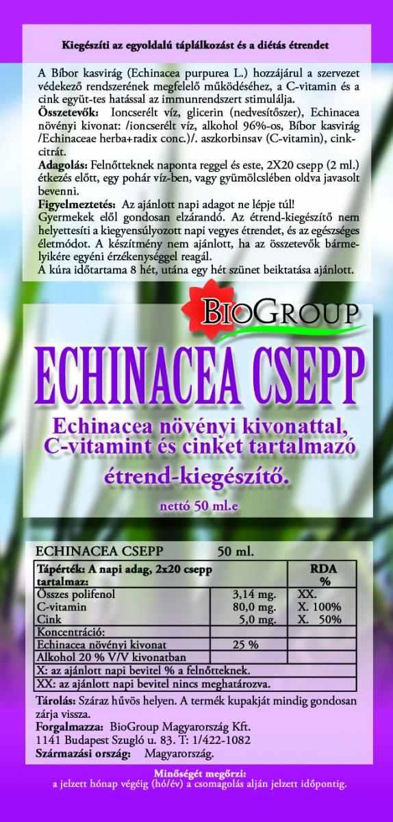 Echinacea cseppek Bibor kasvirág BIOGROUP