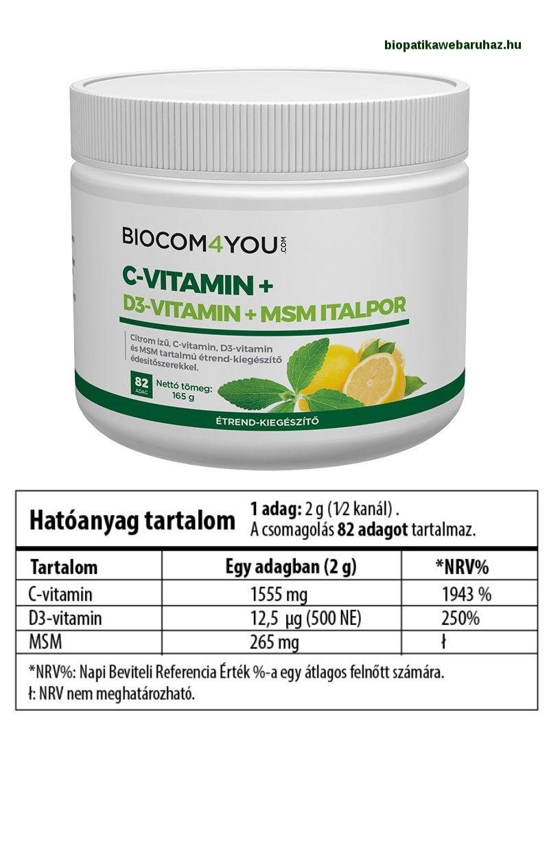 MSM-C VITAMIN +D3 ITALPOR, Láz és fájdalomcsillapító - Biocom 4you