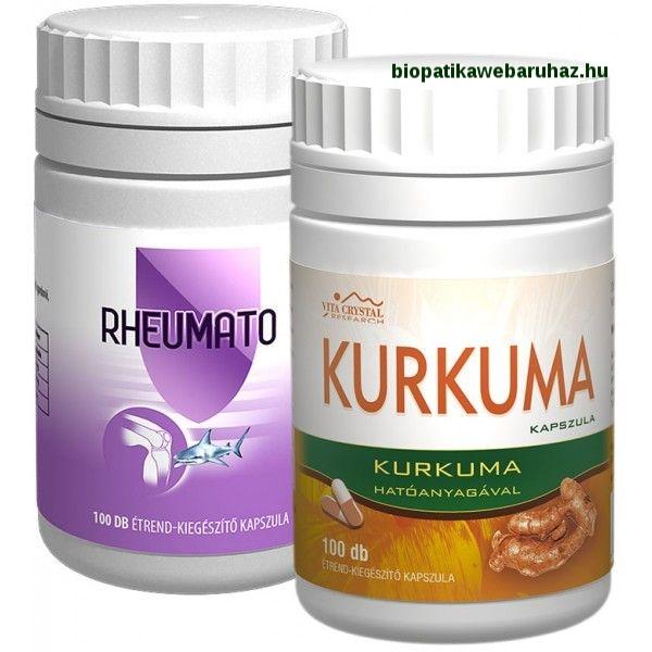 Kurkuma kapszula 100 db+Rheumato kapszula 100 db -ízületi gyulladás húgysav, emésztérsi panaszok ellen