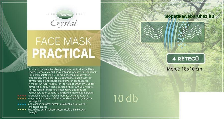 Face mask Practical - Anion 4 réteggel ellátott orvosi arcmaszk, 10 db